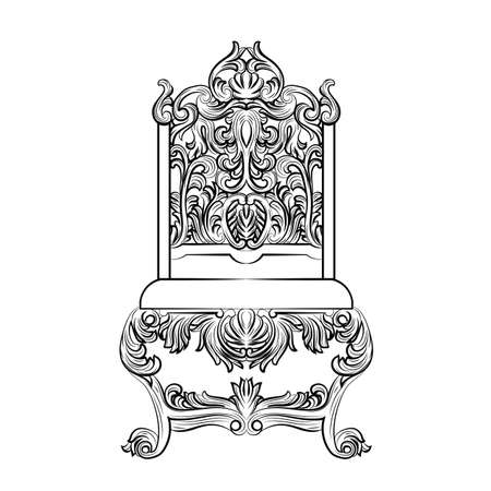 luxury furniture: Baroque luxury style furniture. Chair throne with luxurious rich ornaments. French Luxury rich carved ornaments furniture. Vector Victorian exquisite Style furniture. Vector sketch