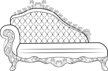 baroque furniture: Vintage Baroque Sofa with luxurious ornaments. Elegant Baroque style furniture. Vector