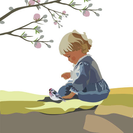 kinder garden: Little baby girl playing in a garden. Vector beautiful cute illustration for Childrens Day