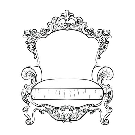 console table: Baroque Imperial luxury style furniture. Elegant sofa with luxurious rich ornaments. Vector sketch