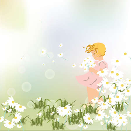 kinder garden: Little girl playing in a field of chamomile flowers. Vector beautiful sweet illustration for Childrens Day