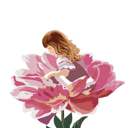 watercolor technique: Little girl in a pink peony flower. Vector floral cute illustration for Childrens Day. Watercolor technique hand drawn
