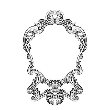mirror and frame: Rococo Mirror frame decor. Vector French Luxury rich carved ornaments and Wall Frames. Victorian Royal Style frame
