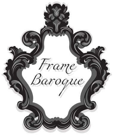 cadre Baroque Rococo Mirror réglé. Vector luxe français riches ornements sculptés et cadres muraux. Cadre de style victorien riche