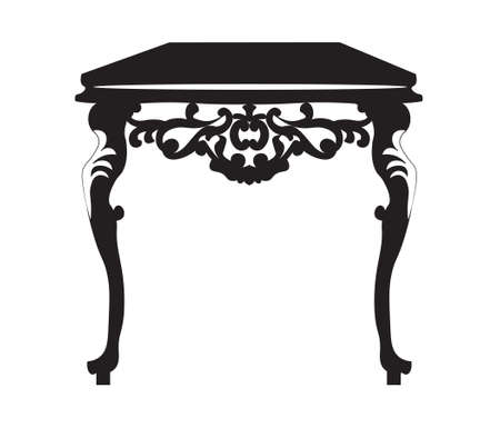 console table: Baroque Royal Table with luxury ornament in Black. Vector furniture with engraved ornaments
