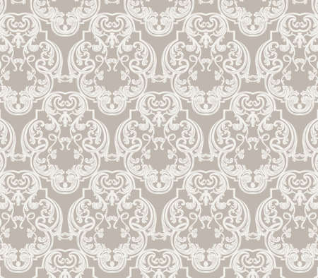 baroque room: Vintage Classic Rococo Floral ornament damask pattern. Elegant luxury texture for wallpapers, backgrounds and invitation cards. Dark Grey color. Vector