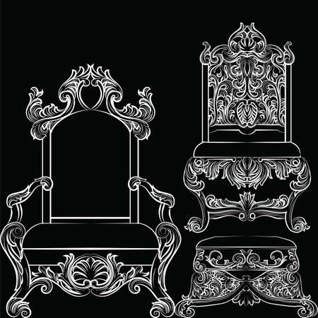 baroque furniture: Baroque luxury style furniture set. Chair throne luxurious rich ornaments. French Luxury rich carved ornaments furniture. Vector Victorian exquisite Style furniture. Vector sketch on black background Illustration