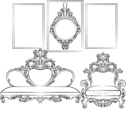 rococo style: Royal Sofa and Frames set in Baroque Rococo style with damask luxurious ornaments. Vector