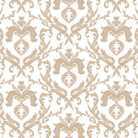 Ornement damassé florale vintage. texture de luxe élégant pour texture, tissu, papier peint, arrière-plans et cartes d'invitation. couleur blanche d'or. Vecteur Banque d'images - 59308066