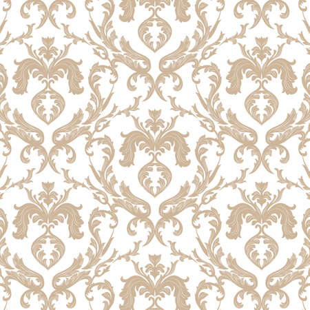 Vintage Floral ornament damask pattern. Elegant luxury texture for texture, fabric, wallpapers, backgrounds and invitation cards. Gold white color. Vector