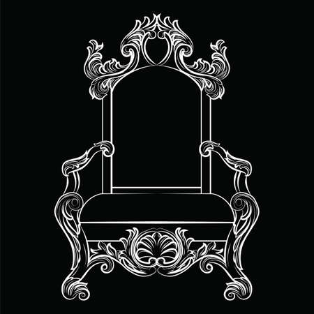 baroque furniture: Baroque luxury style furniture. Chair throne with luxurious rich ornaments. French Luxury rich carved ornaments furniture. Vector Victorian exquisite Style furniture. Vector sketch on black background