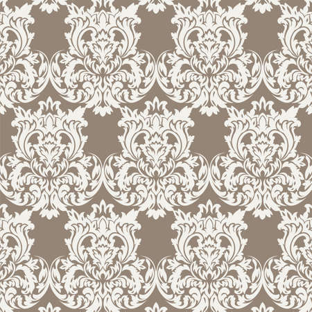 dark beige: Vintage Classic Rococo Floral ornament damask pattern. Elegant luxury texture for wallpapers, backgrounds and invitation cards. Dark Beige color. Vector