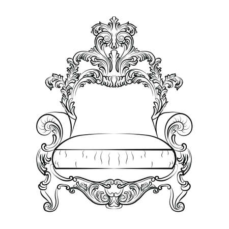 baroque furniture: Baroque Imperial luxury style furniture. Elegant sofa with luxurious rich ornaments. Vector sketch