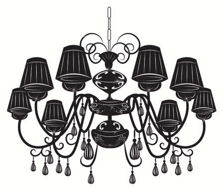 chandelier: Classic chandelier with Crystals on white background. Luxury decor accessory design. Vector illustration sketch