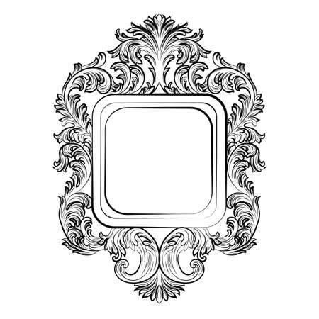 mirror and frame: Baroque Rococo Exquisite Mirror frame decor. Vector French Luxury rich carved ornaments and Wall Frames. Victorian Royal Style frame
