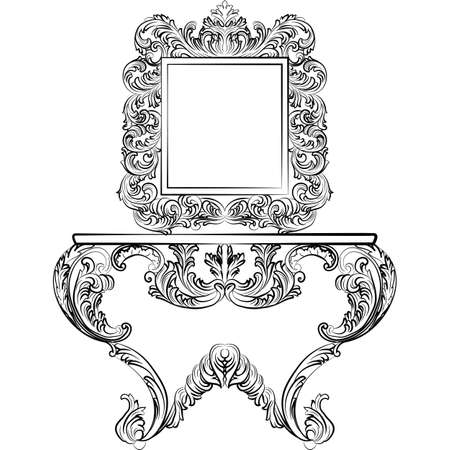 console table: Exquisite Rich Rococo furniture set. Dressing Table and mirror frame. French Luxury rich carved ornaments furniture. Vector Victorian Imperial Style furniture Illustration