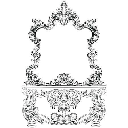 baroque furniture: Vector Baroque furniture Dressing Table and mirror frame. French Luxury rich carved ornaments furniture. Victorian Royal Style furniture Illustration