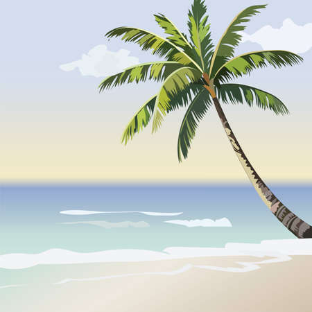 palm tree vector: Vintage beautiful Sunset Seaside Tropical card. Summer beach and Palm tree Vector background