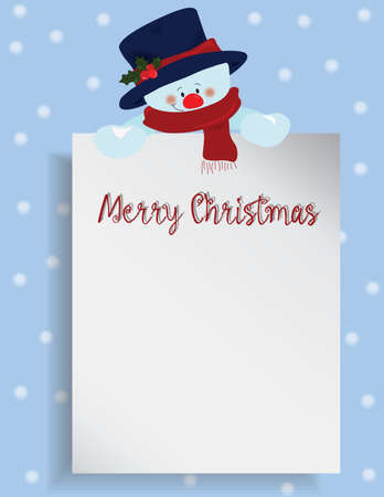 wish list: Merry Christmas letter or wish list with snowman. Vector