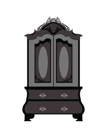 ornamented: Classic royal ornamented glass case closet furniture. Vector