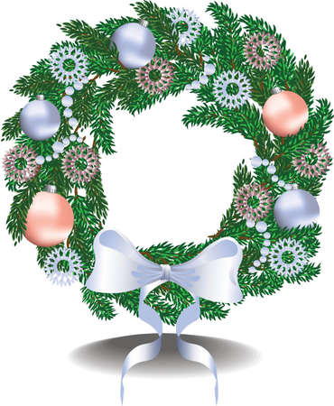 festive: Christmas festive wreath. Vector illustration Illustration