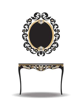 Tabla barroco muebles de época y marco de espejo. Vector elegante del oro adornado muebles de lujo Ilustración de vector