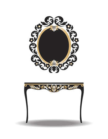 baroque furniture: Vintage Baroque Furniture Table and Mirror frame. Vector Elegant Gold ornamented luxury furniture