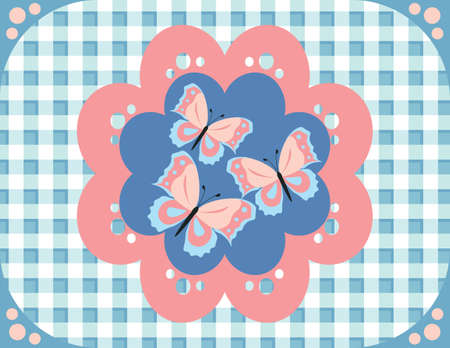 gingham pattern: Butterflies gingham pattern fabric. Vector