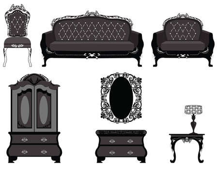 vanity table: Classic royal ornamented furniture set. Vector Illustration