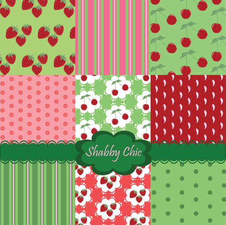 chic: Shabby chic set of colorful fabrics. Vector