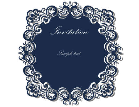 ornamented: Lace ornamented round frame Invitation in blue color. Vector Illustration