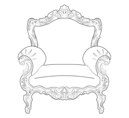 luxurious: Classic royal armchair with luxurious ornaments . Vector sketch