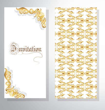 dress code: Invitation card with Golden ornament pattern for weddings, ceremonies, party, dress code, certificates. Vector