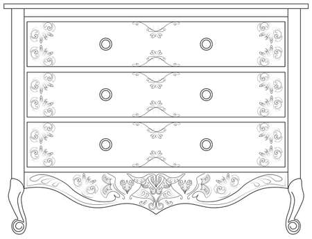 commode: Classic commode with damask royal ornaments. Vector