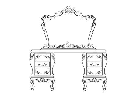 dressing table: Dressing table and mirror set with luxurious rich ornaments. Baroque damask ornamented style. Vector sketch