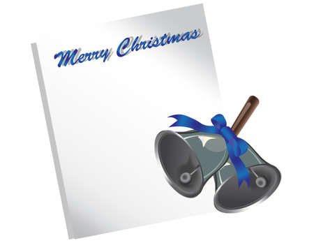 jingle bells: Merry Christmas letter or wish list with silver jingle bells and bow. Vector