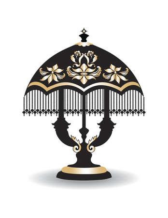 chandelier: Vintage Baroque Classic lamp with luxury ornaments Golden Black. Vector