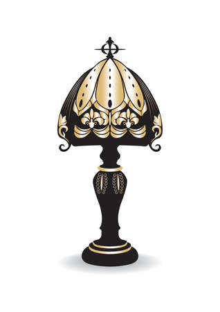 wedding table decor: Golden Vintage Baroque Classic Decorated lamp isolated on white. Vector