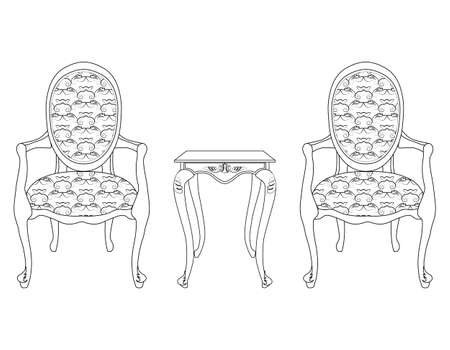 baroque furniture: Elegant Baroque luxury ornamented furniture and coffee table. Vector sketch Illustration