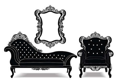 Klasyczny, barokowy zestaw królewski z luksusowymi ornamentami. Szkic wektor