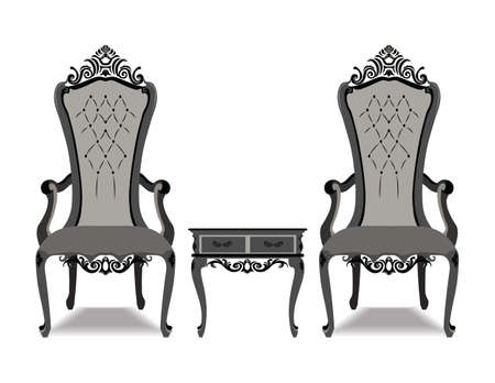 neoclassic: Elegant Baroque luxury ornamented furniture set. Baroque style armchairs leather quilted. Vector sketch Illustration