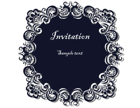 ornamented: Lace ornamented round frame Invitation. Vector