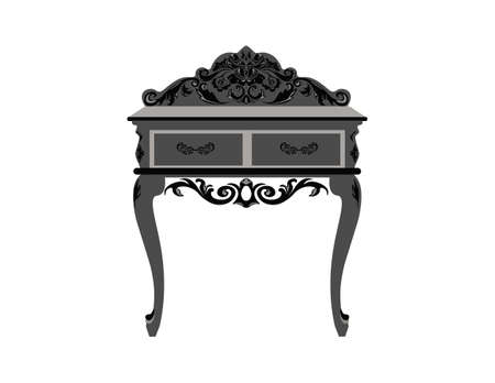 dinning table: Elegant commode able with drawers. Baroque style luxury rich ornaments. Vector sketch