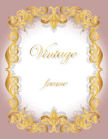 Carte d'invitation avec Golden ornemental bordure de cadre pour les mariages, les cérémonies, fête, code vestimentaire, les certificats. Vecteur Vecteurs