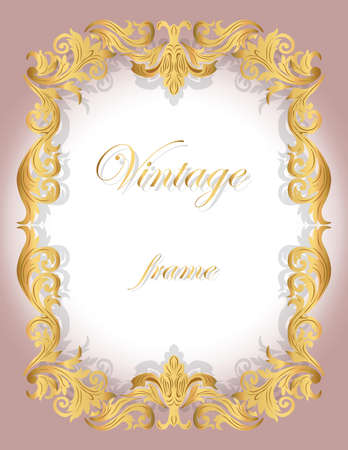 ceremonies: Invitation card with Golden ornamental frame border for weddings, ceremonies, party, dress code, certificates. Vector Illustration