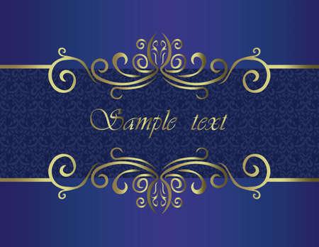 royal: Elegant classic invitation with golden ornaments on royal blue color. Vector Illustration