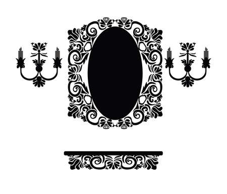 mirror and frame: Vintage set of royal classic ornamented table, decorated mirror frame and wall lamps. Vector Illustration