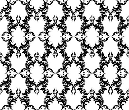 fabric textures: Abstract geometric floral classic pattern ornament. Vector background for cards, web, fabric, textures, wallpapers, tile, mosaic. Black and white color