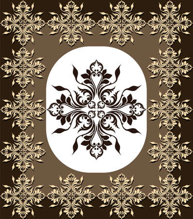 fabric textures: Vintage Abstract geometric floral classic frame ornamented. Vector background for cards, web, fabric, textures, wallpapers, tile, mosaic. Black color Illustration