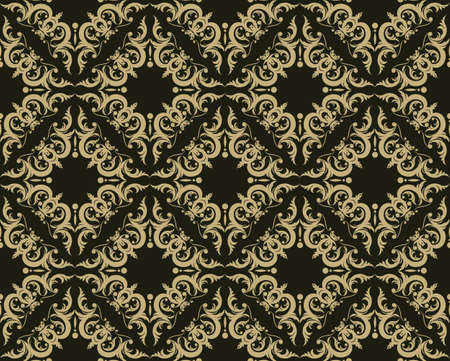 fabric textures: Vintage Abstract geometric floral classic pattern ornament. Vector background for cards, web, fabric, textures, wallpapers, tile, mosaic. Gold and black color